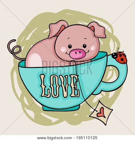 Scalable vectorial image representing a love tea cup pig background.