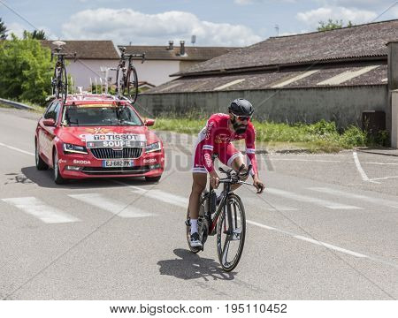 Bourgoin-Jallieu France - 07 May 2017: The French cyclist Geoffrey Soupe of Cofidis Team riding during the time trial stage 4 of Criterium du Dauphine 2017.