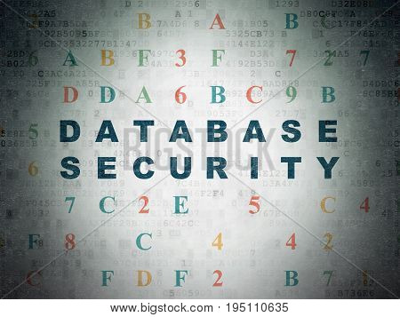 Database concept: Painted blue text Database Security on Digital Data Paper background with Hexadecimal Code