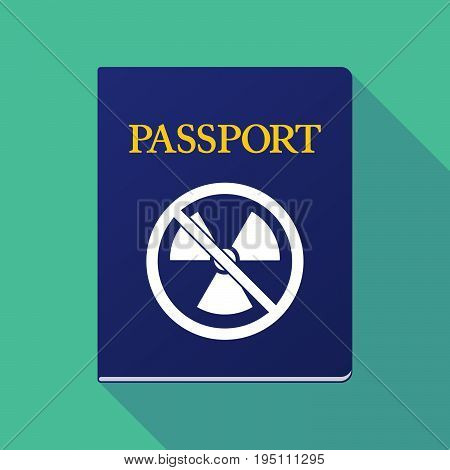 Long Shadow Passport With  A Radioactivity Sign  In A Not Allowed Signal