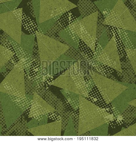 Abstract green camouflage pattern with halftone textures
