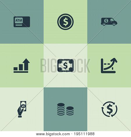 Vector Illustration Set Of Simple Banking Icons. Elements Interest, Economy, Atm And Other Synonyms Armored, Truck And Convert.