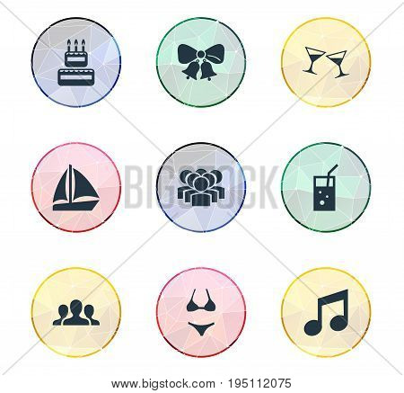 Vector Illustration Set Of Simple Party Icons. Elements Tone, Beachwear, Carbonated Drink And Other Synonyms Group, Candles And Company.