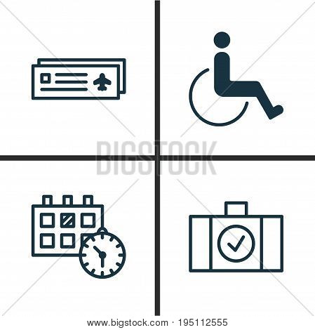 Traveling Icons Set. Collection Of Appointment, Luggage Scanner, Airport Card And Other Elements. Also Includes Symbols Such As Ticket, Disabled, Appointment.