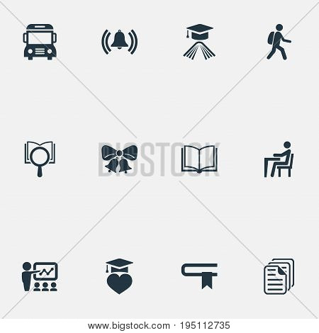 Vector Illustration Set Of Simple Education Icons. Elements Student, Pupil, Omnibus And Other Synonyms Publicity, Omnibus And Break.