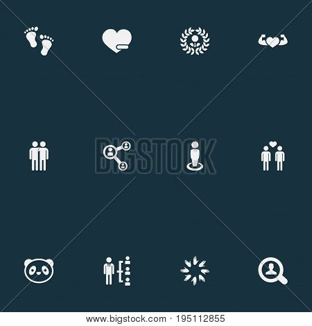 Vector Illustration Set Of Simple Fellows Icons. Elements Toy, Singleness, Bodybuilding And Other Synonyms Structure, Only And Barefoot.