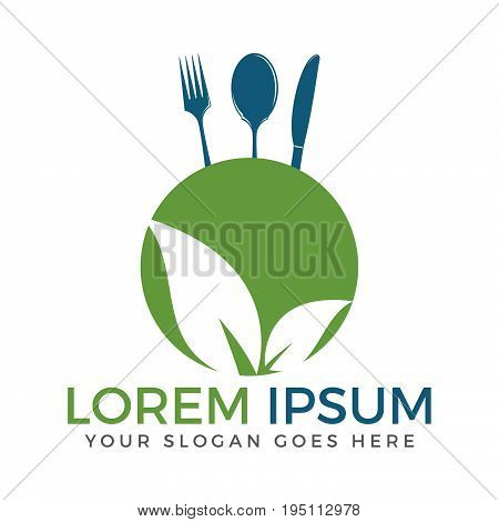 Healthy Food Logo. Vegetarian food symbol. Leaf shape with knife, spoon and fork. Creative logo design concept for healthy products.