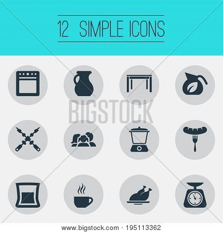 Vector Illustration Set Of Simple Gastronomy Icons. Elements Vase, Domestic, Bbq And Other Synonyms Fork, Pot And Scale.