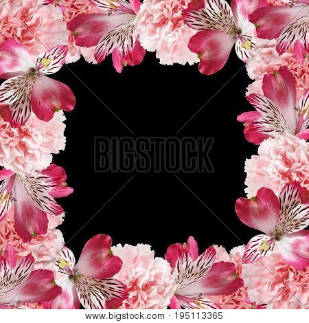 Beautiful floral background of alstroemeria and carnations
