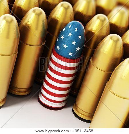 American flag textured bullet among yellow bullets. 3D illustration.