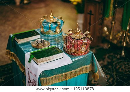 Altar Church Bible Candles Crown Cross Icon