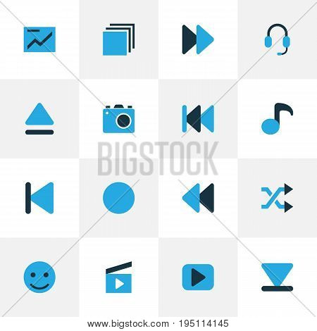 Music Colorful Icons Set. Collection Of Headset, Chart, Cinema Clap And Other Elements. Also Includes Symbols Such As Headphone, Musical, Group.