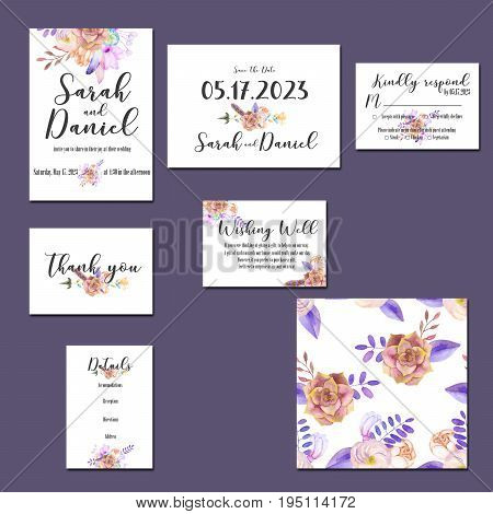 Template cards set with watercolor purple posies; wedding design for invitation, Save the date card, RSVP, Thank you card, Wishing Well card,  for anniversary day