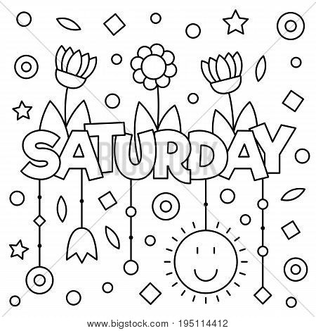 Coloring page. Vector illustration of a wek day. Saturday.