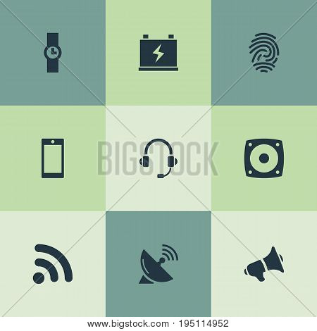 Vector Illustration Set Of Simple Hitech Icons. Elements Satellite Antenna, Smartphone, Headphones And Other Synonyms Wireless, Phone And Scanner.