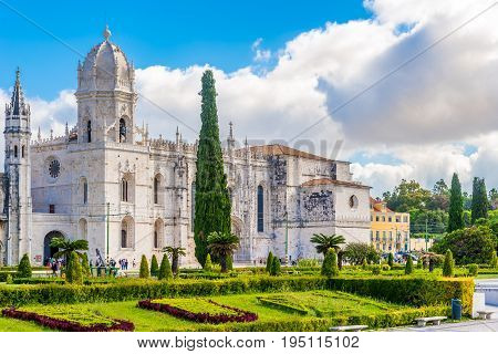 LISBON,PORTUGAL - MAY 18,2017 - View at the church of Santa Maria near Jeronimos Monastery in Lisbon. Lisbon is the capital of Portugal.