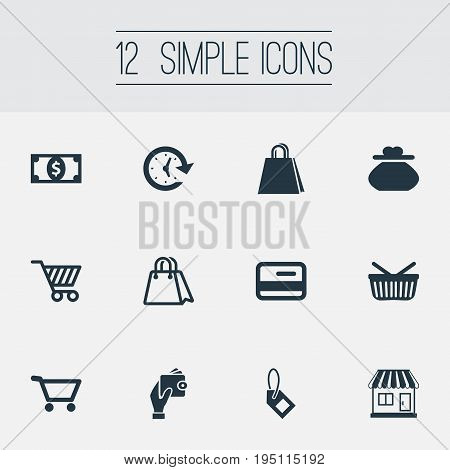 Vector Illustration Set Of Simple Money Icons. Elements Label, Cart, Paper Bag And Other Synonyms Online, Bag And Grocery.