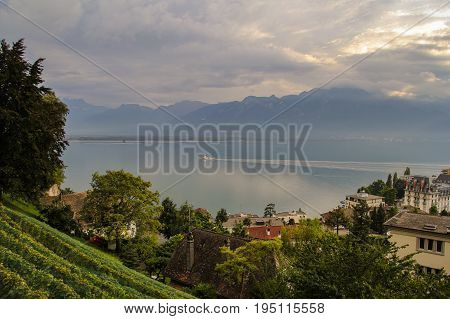 Beautiful view of Geneva lake from Montreux city on a sunny summer day Canton of Vaud Switzerland