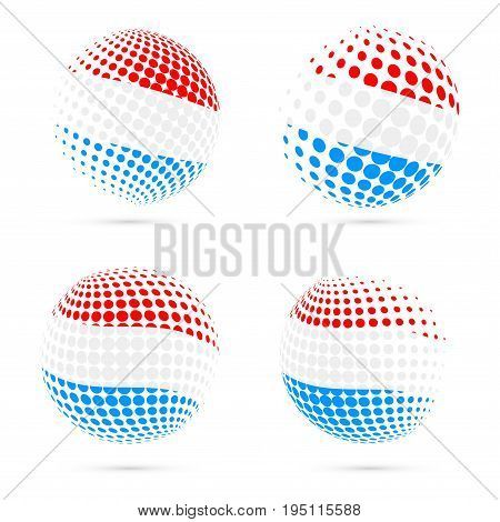 Luxembourg Halftone Flag Set Patriotic Vector Design. 3D Halftone Sphere In Luxembourg National Flag