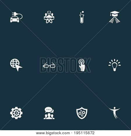 Vector Illustration Set Of Simple Invention Icons. Elements Mechanism, Choose, Connection And Other Synonyms Select, World And Choose.