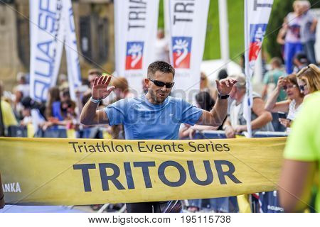 Szczecin Poland July 9 2017: Triathlon Szczecin Triathletes run to the finish.