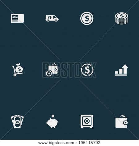 Vector Illustration Set Of Simple Currency Icons. Elements Growth, Secure Box, Purse And Other Synonyms Bill, Atm And Safe.