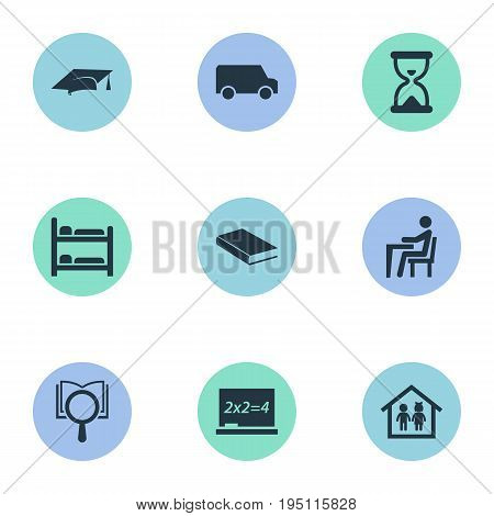 Vector Illustration Set Of Simple School Icons. Elements Sandglass, Books, Pupil Synonyms Research, Transportation And Book.