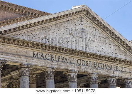 Pantheon in Rome. Ancient roman pantheon. Close view. Rome Italy. June 2017