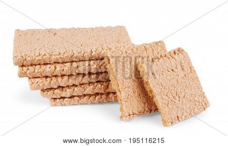 The healthy crispbread isolated on white background.