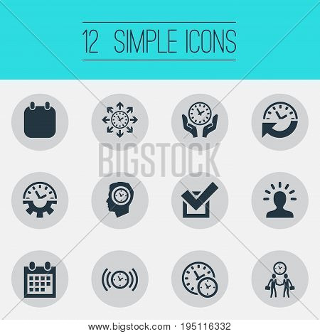 Vector Illustration Set Of Simple Administration Icons. Elements Manager, Saving, Recurrence And Other Synonyms Meeting, Businessman And Handshake.