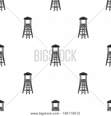 Observation tower for hunters.African safari single icon in black style vector symbol stock illustration .