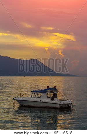 Beautiful View Of Geneva Lake With Boat From Montreux City On A Sunny Summer Day, Canton Of Vaud, Sw