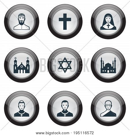 Vector Illustration Set Of Simple Faith Icons. Elements Jewish Clergy, Priestess, Temple And Other Synonyms Man, Cross And Cardinal.