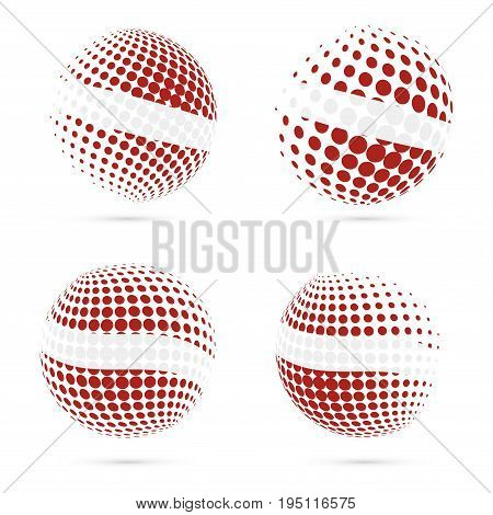 Latvia Halftone Flag Set Patriotic Vector Design. 3D Halftone Sphere In Latvia National Flag Colors