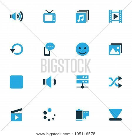Multimedia Colorful Icons Set. Collection Of Cinema Clap, Gallery, Music And Other Elements. Also Includes Symbols Such As Image, Megaphone, Mix.