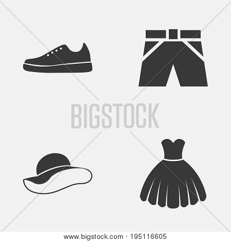Garment Icons Set. Collection Of Elegant Headgear, Sarafan, Trunks Cloth And Other Elements. Also Includes Symbols Such As Gumshoes, Cloth, Sneakers.