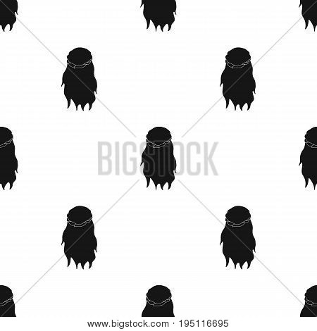 Dark, loose hair behind.Back hairstyle single icon in black style vector symbol stock illustration .