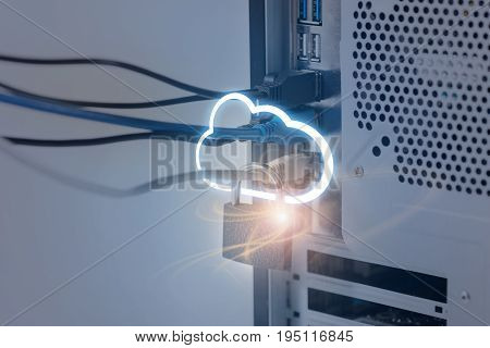 Protect cloud information data concept. Close up of system unit with metal padlock and connection wires