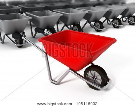 Hand barrow isolated on white background. 3D illustration.