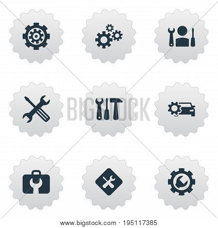 Vector Illustration Set Of Simple Mending Icons. Elements Toolbox, Cogwheel, Specialist And Other Synonyms Car, Engineering And Wheel.