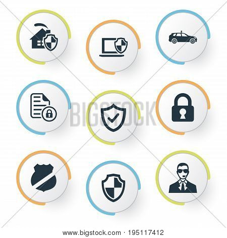 Vector Illustration Set Of Simple Secure Icons. Elements Safeguard, Approve, Guard And Other Synonyms Guard, Check And Lock.