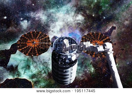 Cargo Spacecraft - The Automated Transfer Vehicle Over Nebula.