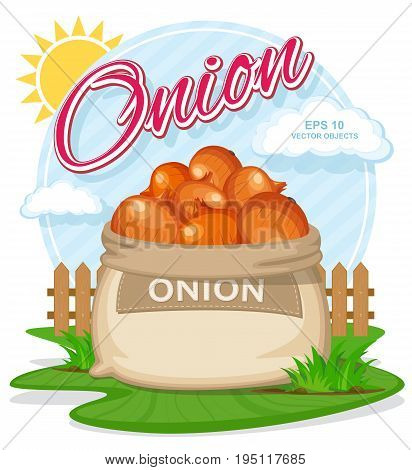 Vector illustration of eco products. Ripe Onion in burlap sack. Full sacks with fresh vegetables. Bag with harvest on the summer garden. Harvesting and food concept