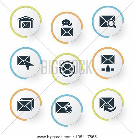 Vector Illustration Set Of Simple Message Icons. Elements Cursor, Correspondence, Message And Other Synonyms Sms, Pick And Spam.