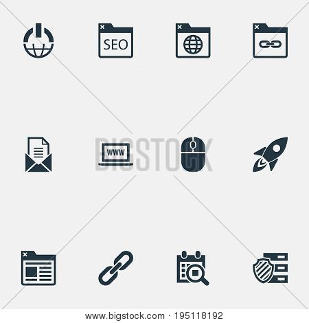 Vector Illustration Set Of Simple SEO Icons. Elements Letter, World Wide Web, Optimization And Other Synonyms Space, Mouse And Date.