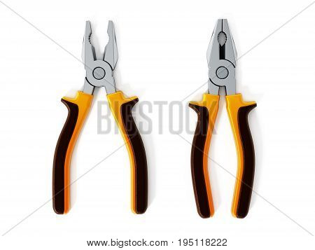 Open and closed pliers isolated on white background. 3D illustration.