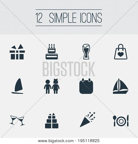 Vector Illustration Set Of Simple  Icons. Elements Sale, Cocktail, Present And Other Synonyms Lunch, Kids And Present.