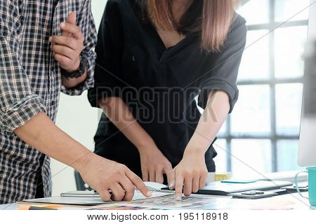 Graphic designer Team working on creative office with create graphic on computer.