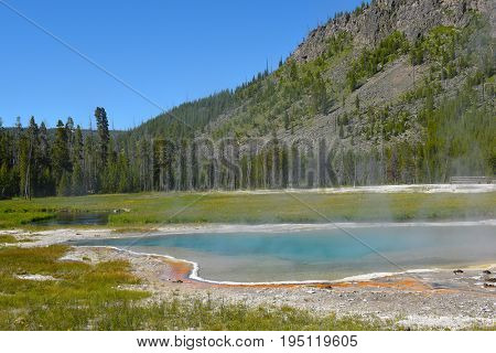 Pool at Black Sand Basin in Yellowstone National Park.