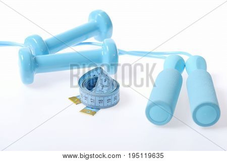 Set Of Blue Sports Items: Pair Of Cyan Barbells